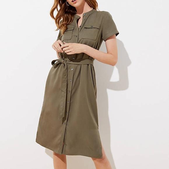 LOFT Dresses & Skirts - LOFT Petite Drapey Utility Shirtdress